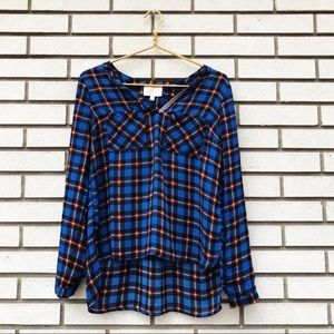 Skies Are Blue Plaid High Low Blouse
